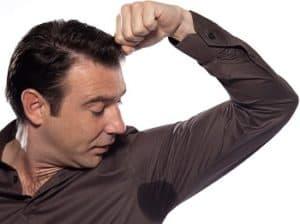 man sweating perspiring stain isolated studio on white backgroun